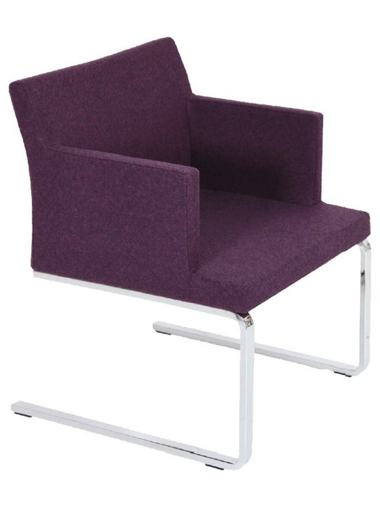 """Soho Flat Armchair by sohoConcept - Deep Maroon Camira Wool - Soho Flat is an elegant armchair designed ideally for lounge and waiting areas. The chair has a comfortable upholstered seat and backrest on a chromed solid steel cantilever framed leg structure with embedded plastic gliders on the bottom. Thanks to its lower seat, the chair fits perfectly the lounge and living rooms.The seat has a steel structure with """"S"""" shape springs for extra flexibility and strength. This steel frame molded by injecting polyurethane foam. Soho Flat seat is upholstered with a removable velcro enclosed leather, PPM or wool fabric slip cover. The chair is suitable for both residential and commercial use."""