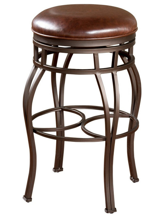 American Heritage - American Heritage Bella 26 Inch Backless Counter Stool in Bourbon - The pepper colored hand painted curved frame provides a wide base for support. The bourbon colored leather on the 360 degree full bearing swivel seat gives you the comfort you deserve. What's included: Stool (1).