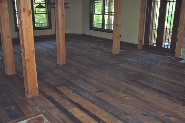 Distressed reclaimed tobacco barn flooring with oil finish for Tobacco pine flooring