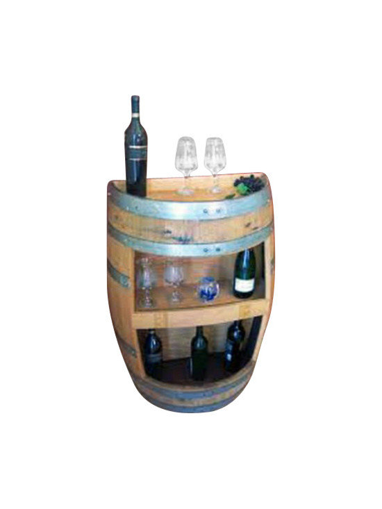 "Master Garden Products - Oak Wood Split Wine Barrel Display Shelf,  26""W x 13""D x 36""H - Our split barrel shelf is handcrafted from reclaimed used wine barrels from California, double shelf height 14"" head room, more display on the top of the split barrel."
