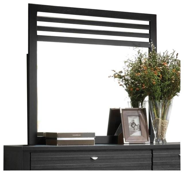 Coaster Richmond Slat Landscape Mirror in Black transitional-makeup-mirrors