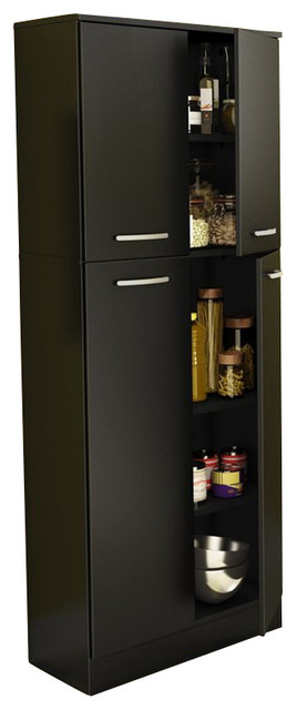 South Shore Fiesta Storage Pantry in Pure Black transitional