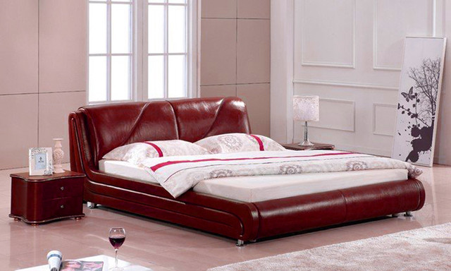 Ruby Color Leather Platform Bed - Available in Queen and King Size modern-beds