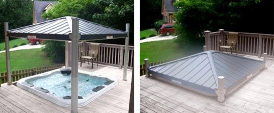 Automatic Spa Cover Gazebo Eclectic New York By Long