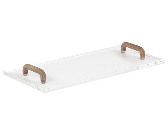 """Zentique - Zentique Joseph Acrylic & Wood Serving Board - The Zentique Joseph serving board lends tabletops sleek modernity. Featuring raised, natural birch handles, this tray exudes glamour with a rectangular acrylic form. 18""""W x 8""""D x 0.5""""H; Made in the USA"""