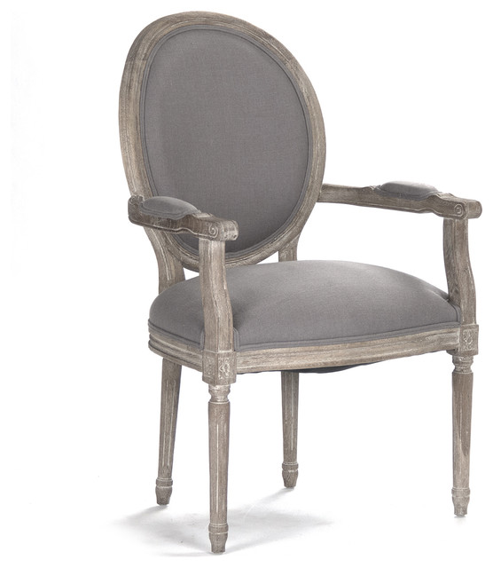 Madeleine French Country Oval Gray Linen Dining Arm Chair