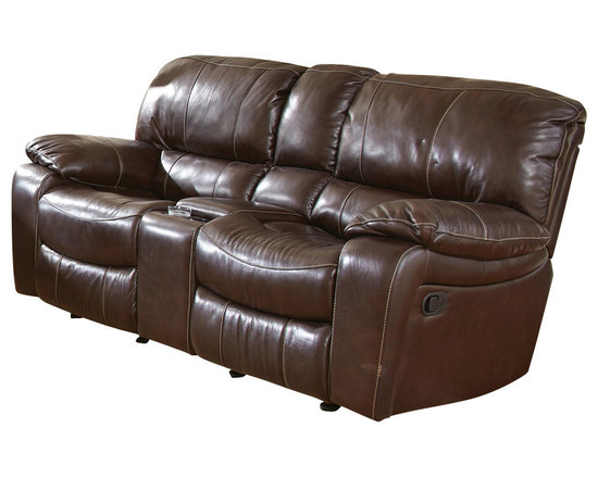 Steve Silver Furniture - Steve Silver Brenton Double Glider Recliner Loveseat in Coffee Leather - Double Glider Recliner Loveseat in Coffee Leather belongs to Brenton Collection by Steve Silver The Brenton motion recliner loveseat is the ultimate in comfort and relaxation.  The recliner loveseat features fully reclining power motion with durable Leggett and Platt recliner mechanisms and Mullin motors.  The double glider side by side reclining loveseat features a storage console and cup holders.  Impressive coffee bean top grain leather on seats, backs and arms with matching vinyl on outside backs and arms.  Loveseat (1)