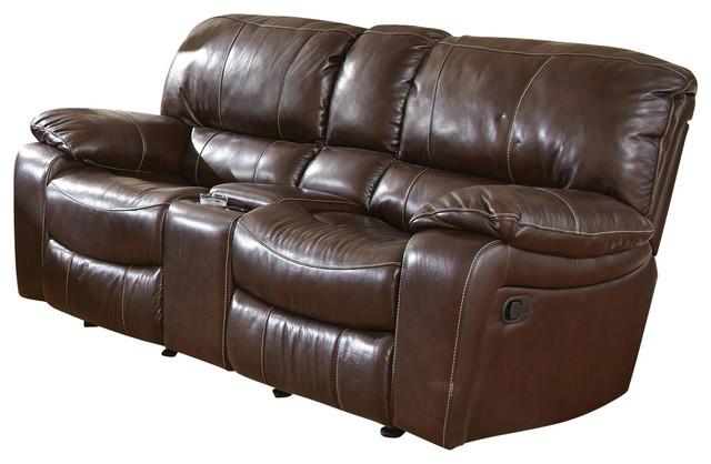 Steve Silver Brenton Double Glider Recliner Loveseat In Coffee Leather Modern Loveseats By