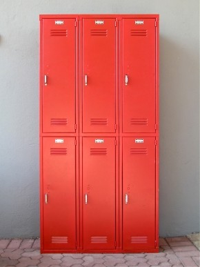 Red Lockers eclectic storage and organization