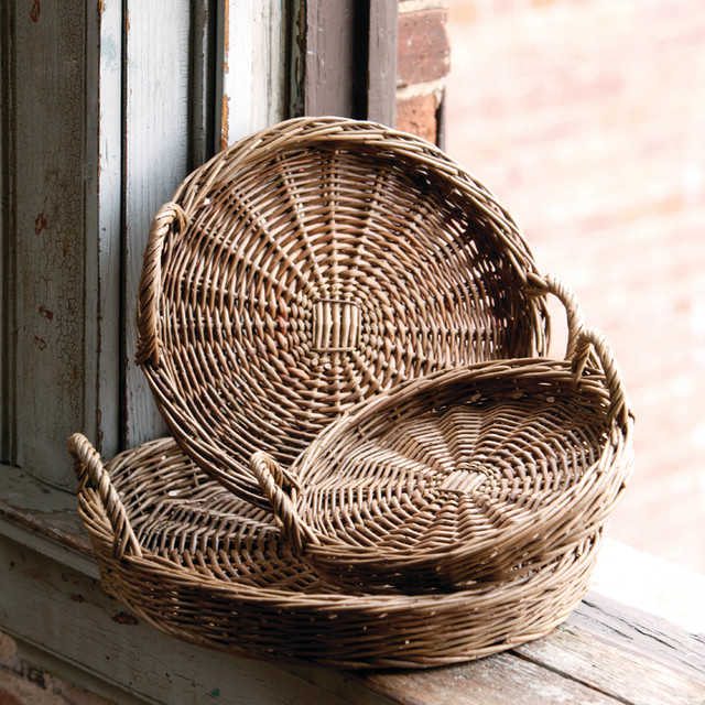 Round Willow Trays Traditional Baskets Atlanta By