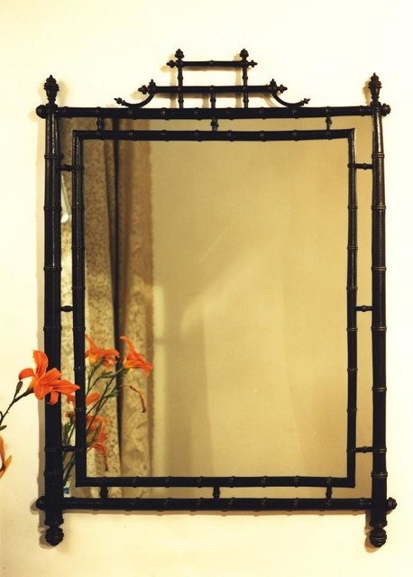 Turned Bamboo Mirror Asian By Carvers Guild