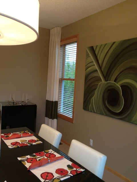 Color Banded Custom Drapery contemporary-dining-room
