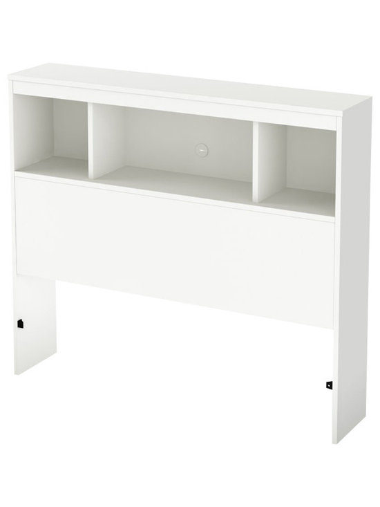 South Shore - South Shore Affinato Twin Bookcase Headboard in Pure White Finish - South Shore - Headboards - 3260098 - With its pure white finish and sleek, simple lines, the South Shore Affinato Bookcase Headboard will enhance any kids bedroom. Available in Twin size, this headboard features three open shelves and a wire management hole in the back. Add contemporary charm to your kid's bedroom with the Affinato Bookcase Headboard.