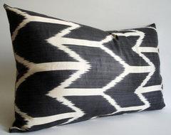 Hand-Woven Original Silk Ikat Pillow Cover, Dark by Sukan contemporary-pillows