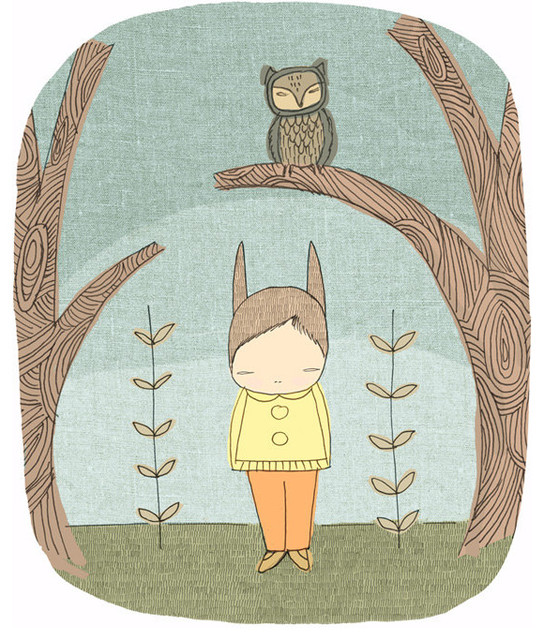 Owl and Bunny Illustration By honey cup contemporary-artwork