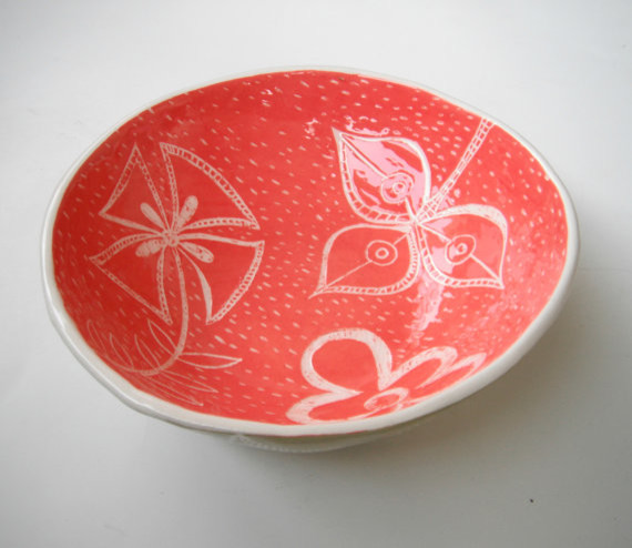 Ceramic Serving Bowl, Coral Pink and Tumeric by Ceramica Botanica contemporary-serving-and-salad-bowls