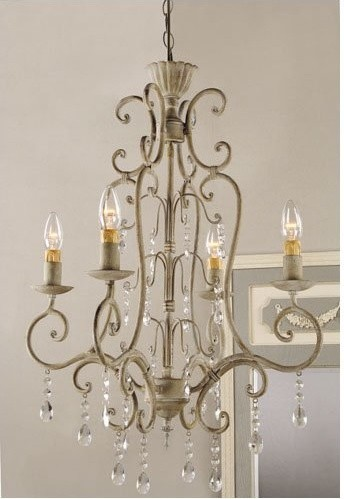 Shabby Vintage Metal Crystal Chandelier traditional chandeliers