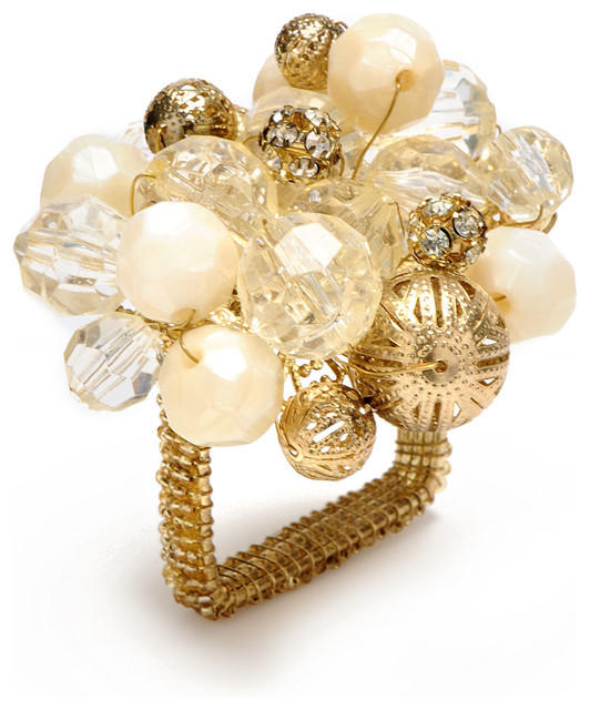 Gold Crystal Bauble Napkin Ring Contemporary Napkin Rings
