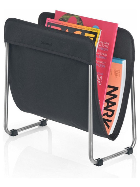 Blomus - Levio Magazine Rack - Black - The Blomus Levio Magazine Rack in Bright Colors is made with brushed, matte-finished stainless steel and synthetic fiber.