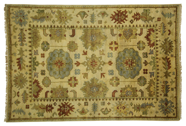 New Traditional Veg Dyed Ivory Oushak 6'x9' Hand Knotted Turkish Wool Rug H3555 traditional-rugs