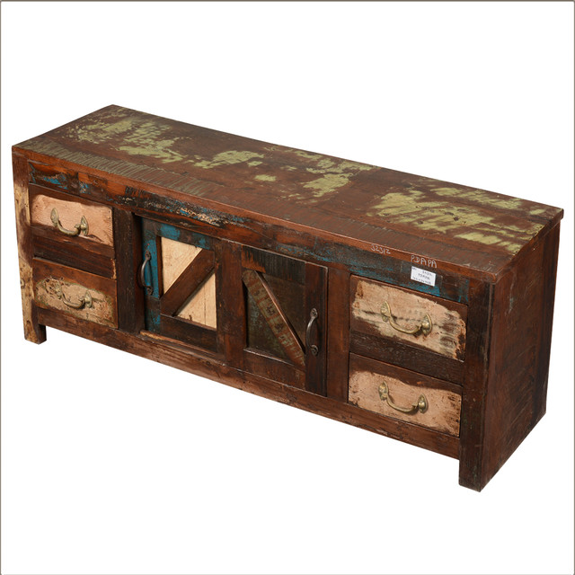 Distressed Reclaimed Wood 4 Drawer TV Media Cabinet