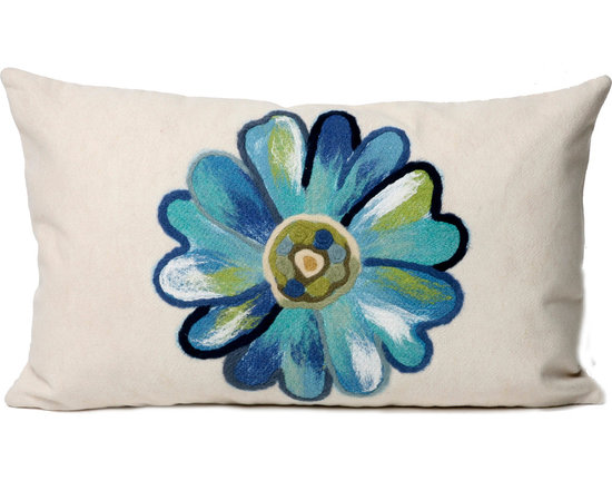 """Trans-Ocean Outdoor Pillows - Trans-Ocean Liora Manne Daisy Aqua - 12"""" x 20"""" - Designer Liora Manne's newest line of toss pillows are made using a unique, patented Lamontage process combining handmade artistry with high tech processing. The 100% polyester microfibers are intricately structured by hand and then mechanically interlocked by needle-punching to create non-woven textiles that resemble felt. The 100% polyester microfiber results in an extra-soft hand with unsurpassed durability."""