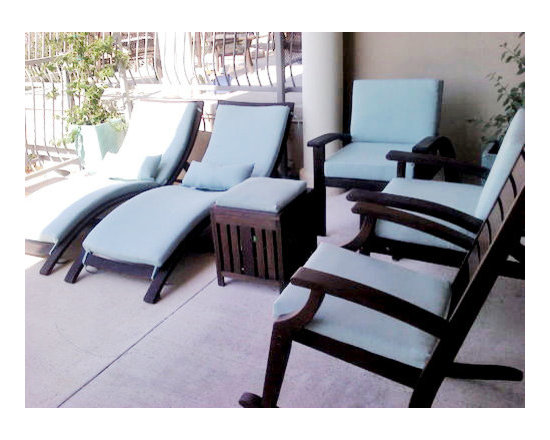 "Customer Photo: Chaise Lounge Cushions - Customer Photo: ""I had all new cushions made in Sunbrella Spectrum Mist (48020-0000) fabric. Now my lakefront condo patio is even prettier than the lake! """