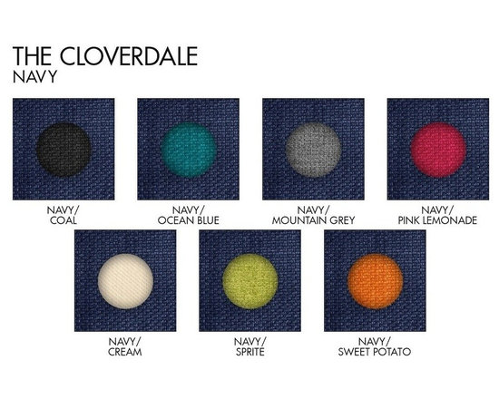 Apt2B.com - Cloverdale Sofa Navy Request A Sample Of Fabric Swatches - This cozy sofa is as comfortable as it is sophisticated. With an unexpected pop of color in the button tufting and a nice deep seat it's a perfect place to cuddle up with your date.