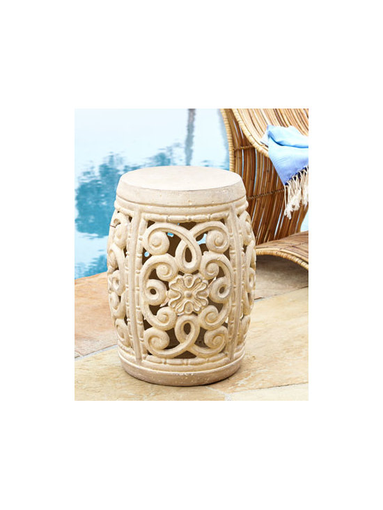 "Horchow - Ornate Outdoor Garden Stool - Exclusively ours. An open scrollwork design surrounds a petite medallion for a garden stool that's sure to dress up any outdoor living space. Handcrafted of crushed stone/polyester resin/styrene/fiberglass. Hand-painted finish. Outdoor safe. 14.5""..."