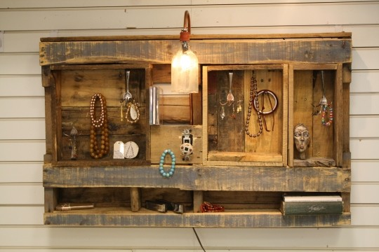 Classic Lighted Jewelry Display/Organizer eclectic wall shelves