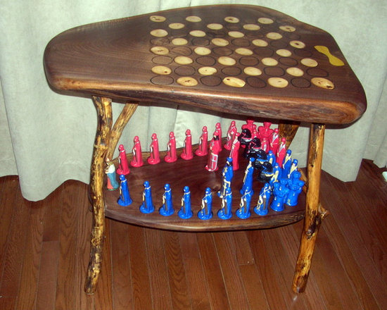 """All The King's Men Walnut Chess Table. - 2+"""" thick Walnut slab with 3/8"""" Hard Maple branch slices, inlaid, hand etched opposing side, thick black oak legs, lower slab, I routered out pockets for the 5-6"""" Chessmen, including the Kings Place, Its sealed with 5 coats of Teak Wood Oil, then rubbed a hundred more times."""