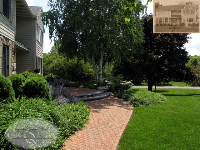 Front Yard Plantings & Brick Walkway traditional landscape