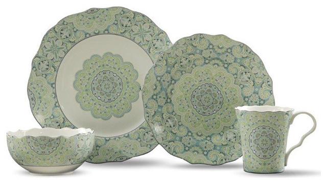 lyria teal 16 piece dinnerware set 222 fifth it