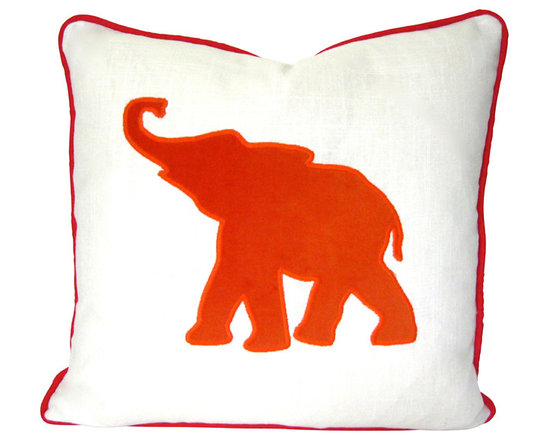 Therese Marie Designs - Elephant Pillow - Orange Elephant Applique Pillow Cover - Elephant pillow with orange velvet applique. White linen serves as the backdrop to this orange elephant cut from orange cotton velvet. Red piping completes the look.  Cut by hand, the shape is then satin stitched (appliquéd) in place. *For 20-inch square insert.