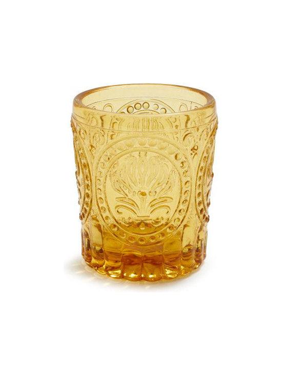 Embossed Glass Tea Light Holder, Amber -