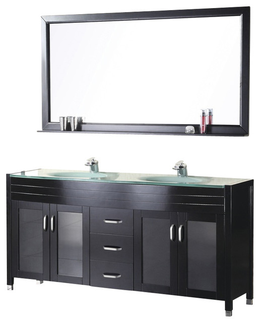 Waterfall Vanity Set With Sink Espresso