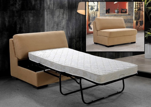 Solo Beige Fabric Single Sofa Bed modern-sofa-beds