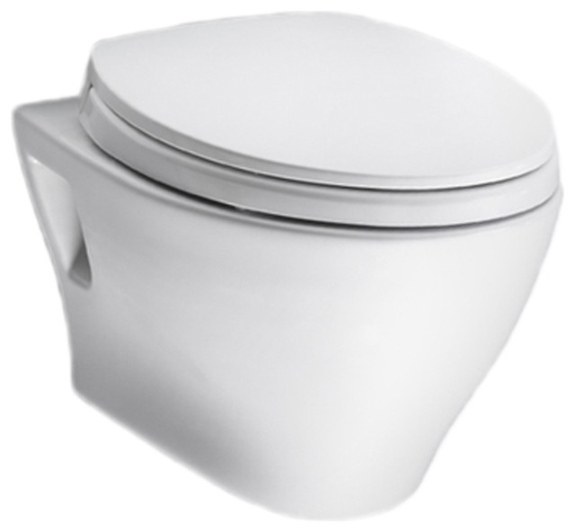Toto CT418FG#01 Cotton White Aquia Wall-Hung Toilet Bowl Only contemporary-toilets