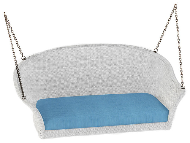Rockport Wicker Patio Swing, Air Blue Cushions traditional-outdoor-sofas
