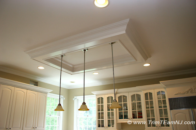 Coffered Ceiling Over Kitchen Island