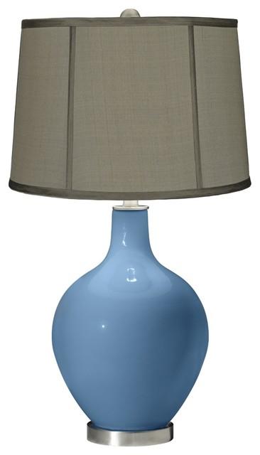 Contemporary Secure Blue Gray Dupioni Silk Shade Ovo Table Lamp contemporary-table-lamps