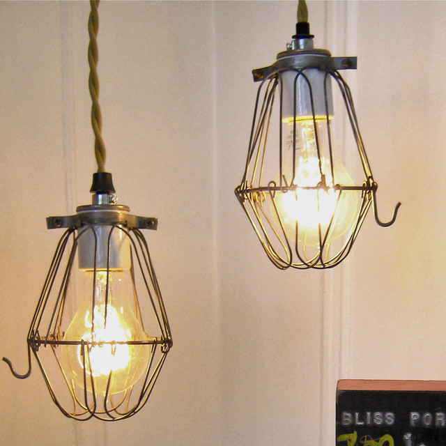 Vintage Factory Cage Pendant Light eclectic-pendant-lighting