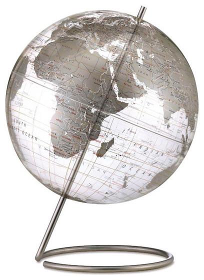 Mid Century Modern Style Transparent Silver World Globe modern-world-globes