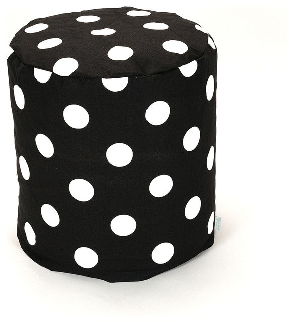Indoor Black Large Polka Dot Small Pouf contemporary-floor-pillows-and-poufs