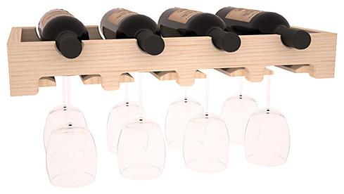 4 Bottle Scalloped Stemware Wine Rack in Pine contemporary-wine-racks