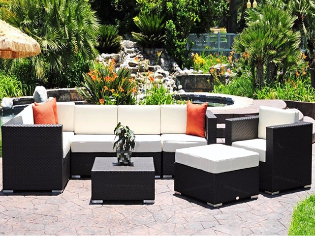 Luxury caluco dijon lounge cushion patio wicker set for Patio lounge sets