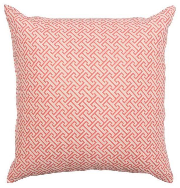 Pre-owned Greek Key Motif Coral Pillow - Mediterranean - Decorative Pillows - by Chairish