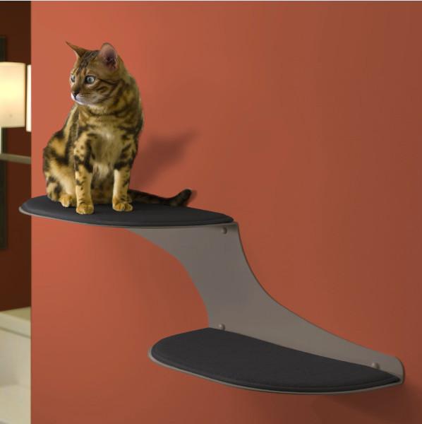 Refined feline cat clouds cat shelf titanium for Modern cat accessories