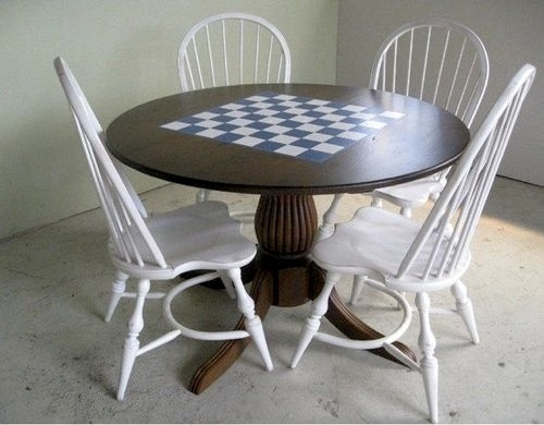 Round Farm Table With Custom Painting