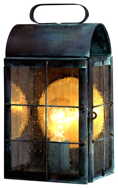 Colonial Electric Wall Sconces : New Haven Colonial Copper Lantern Outdoor Wall Sconce, Raw Copper, X-Large: 18